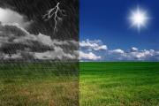 The sun and lightning
